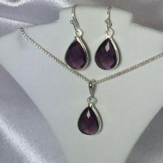 Amethyst Purple / Silver Bridesmaids Teardrop by BridalTreasures4U
