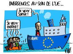 na! (2016-02-18) Les migrants qui survivent, affluent toujours aux portes de l'Europe. Pendant ce temps, les Puissants négocient à Bruxelles leurs avantages commerciaux et politiques mutuels au sein de l'Union, dont le Royaume Uni qui menace de « brexit » si ses exigences ne sont pas remplies…