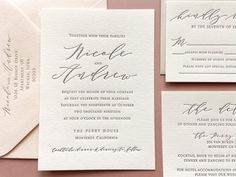 Your place to buy and sell all things handmade - The Nicole Suite Sample Letterpress Wedding Invitations Wedding Invitation Samples, Letterpress Invitations, Handmade Wedding Invitations, Letterpress Wedding Invitations, Pink Invitations, Wedding Invitation Suite, Wedding Stationery, Indian Wedding Cards, Response Cards