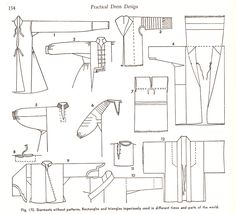 Garments without Patterns - rectangles and triangles ingeniously used in different times and parts of the world - from the book Practical Dress Design Mabel Erwin