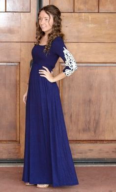Womens 3/4 sleeve modest navy maxi dress with crochet detailed arms in Navy