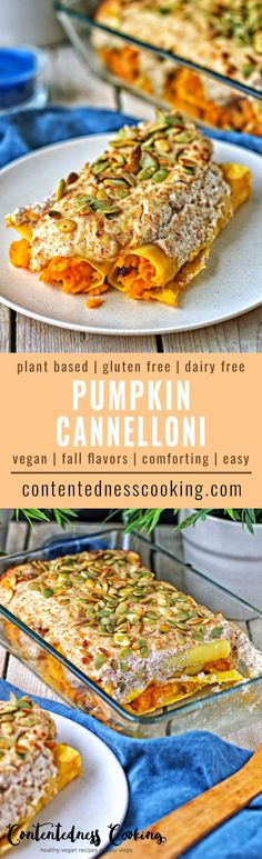 The Pumpkin Cannelloni come with a filling made from pumpkin, onions, and cranberries and are topped by an amazing almond crust. Surely not one of the usual pumpkin recipes. #vegan #glutenfree #plantbased #dairyfree