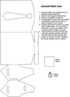 Billedresultat for wedding card template cut dress This is an awesome card idea.Bilderesultat for tutorial tuxedoDressShirt/Tie/Vest Card Template:: Perfect for Father's Day.New origami tutorial easy rose IdeasT T shirt and waistcoat templatepergaman Pop Up Cards, Cool Cards, Diy Cards, Step Card, Shaped Cards, Fathers Day Crafts, Card Tutorials, Card Sketches, Masculine Cards