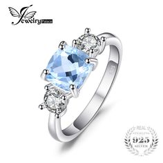JewelryPalace Classic Square Natural Sky Blue Topaz CZ Wedding Ring For Women Soild 925 Sterling Silver Fine Jewelry St Michael Pendant, Cubic Zirconia Rings, Blue Topaz Ring, Wedding Rings For Women, Gems And Minerals, Fine Jewelry, Jewellery, Bling, Sterling Silver