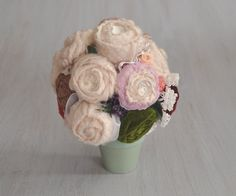 Textile bouquet Flower bouquet Original winter gift House decor Table decor Coloured flowers Standing fiber bouquet Valentine's Day gift - pinned by pin4etsy.com