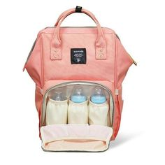 A diaper bag or nappy bag is a storage bag with many pocket-like spaces that is big enough to carry everything needed by someone taking care of a baby while taking a typical short outing. Diaper Backpack, Baby Diaper Bags, Travel Backpack, Baby Necessities, Fitness Gifts, Baby Accessories, Baby Gear, Baby Items, Backpacks