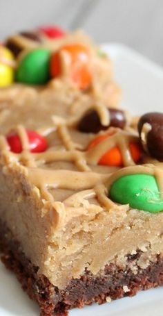 Peanut Butter Cookie Dough Brownie Bars | Six Sisters' Stuff