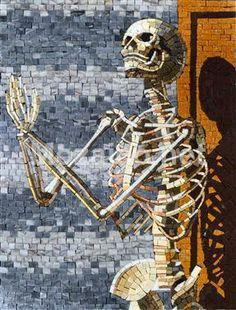 Skeleton praying marble mosaic