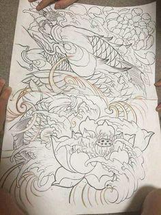 Koi Dragon Tattoo, Koi Fish Tattoo, Japanese Snake Tattoo, Japanese Tattoo Designs, Evil Skull Tattoo, Koi Tattoo Design, Hannya Mask Tattoo, Tattoo Flash Sheet, Koi Art