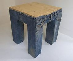Cute Kids table covered with old jeans!