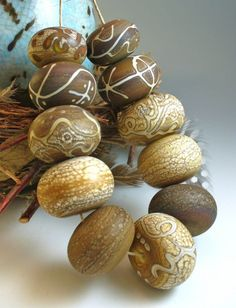 Etched lampwork beads...