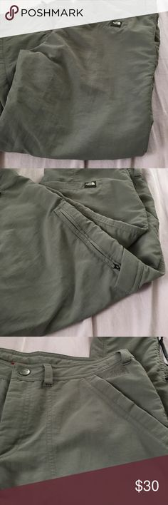 Technical hiking pants The North Face quick dry nylon hiking pants. Faded greyish clay color goes with everything!! Size 8. Sadly they don't fit me anymore!! The North Face Pants