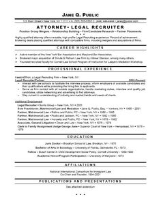 attorney resume format