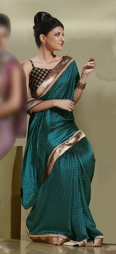 Dusty Teal Crepe Jacquard Saree - IndiaBazaarOnline Shopping Store - Shop with confidence Pakistani Outfits, Indian Outfits, Indian Clothes, Ethnic Fashion, Indian Fashion, India Fashion Week, Fashion 2014, Saree Dress, Saree Blouse