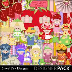 Berry Sweet Friends Kit    50 Papers  220 Elements  1 Alpha
