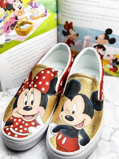 Minnie and Mickey Hand Painted shoes Disney Painted Shoes, Hand Painted Shoes, Baby Moana, Tinkerbell Shoes, Winnie The Pooh, Order Shoes Online, Mickey Shoes, Painted Jeans, Painted Rocks