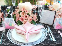 Modern-vintage place setting - black lace, doily place mat, pink napkin with crystal ring