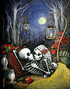 Arte popular mexicano romántico cartel los días del tatuaje de rosas muerto imprimir esqueleto par regalo de bodas de nelson de los huesos. Arte de amor gótico de Rockabilly