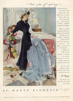 1951 St Marys Blankets Ad – John Gannam Art – Woman in Navy Blue Dressing Gown – Vintage Magazine Ads Vintage Advertisements, Vintage Ads, Vintage Houses, Powder Room Decor, Religious Experience, Vintage Blanket, Old Christmas, Ad Art, Black Paper