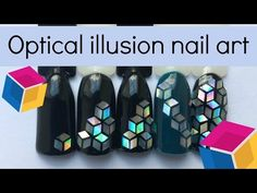 Cubism nail art ⬛ Optical illusion   Easy nail design tutorial with rhombus flakes - YouTube