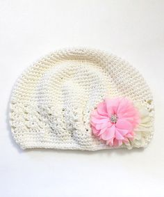 Loving this Ivory Flower Crochet Beanie on #zulily! #zulilyfinds