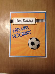 Soccer Birthday card for boy Simple Birthday Cards, Homemade Birthday Cards, Birthday Cards For Boyfriend, Birthday Cards For Boys, Masculine Birthday Cards, Bday Cards, Masculine Cards, Soccer Birthday, Ball Birthday