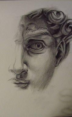 Study based on Michelangelo& David, graphite on paper Pencil Art Drawings, Cool Art Drawings, Art Drawings Sketches, Drawing Ideas, Face Pencil Drawing, Michelangelo, Arte Sketchbook, A Level Art, Renaissance Art