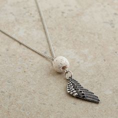 Lava Bead with Wing Dangle Necklace