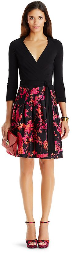 DVF Jewel Silk Combo Wrap Dress women fashion outfit clothing style apparel @roressclothes closet ideas