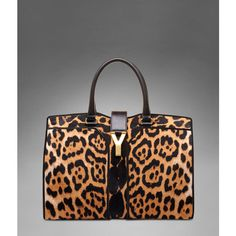 Large YSL Cabas Chyc in Natural Leopard Printed Calfskin found on Polyvore