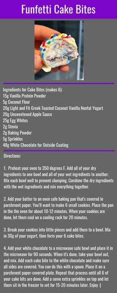 The Greatest Hits - Funfetti Cake Bites - Healthy Protein Snacks, Protein Desserts, Protein Cake, Protein Foods, Healthy Recipes, High Protein, Diet Recipes, Protein Muffins, Protein Cookies