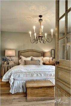 Tuscan inspired bedroom. Nice wall color