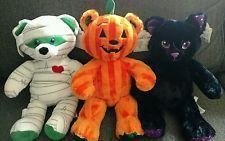 Lot of 3 Halloween 2016 Build a Bear Plush Teddy Pumpkin Black Cat Mummy 2016