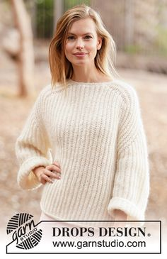 Ravelry: Cloud Fluff pattern by DROPS design Easy Sweater Knitting Patterns, Lace Knitting, Knit Patterns, Knit Crochet, Drops Design, Sky E, Lace Sweater, Yarn Brands, Pulls