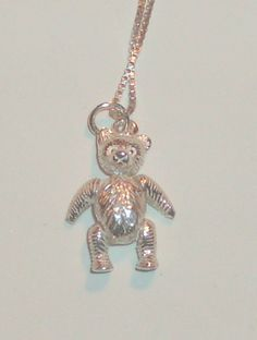 """Vintage Whimsical Moveable Teddy Bear Charm Necklace, Sterling Silver, 18"""" Sterling SIlver Box Chain, 925 Sterling SIlver"""