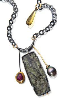 Natural tourmaline surface combined with Tahitian pearl, rhodolite garnet, cognac quartz drop.