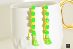 Statement Earrings with tassels Neon Green Yellow by BYTWINS