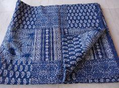 Ajrakh Print Indian Kantha Quilt Throw Bedspread, Reversible kantha, Kantha Beds #Handmade
