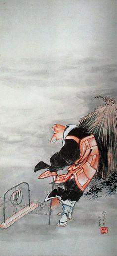 Fox, one of a pair of hanging scrolls, Edo Period - Manji Rōjin Hitsu (Hokusai)