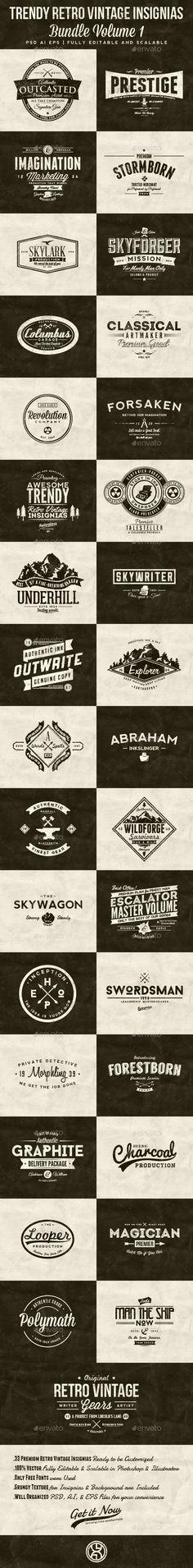 33 Trendy Retro Vintage Insignias Bundle Volume 1 — Photoshop PSD #weathered #vintage logo • Available here → https://graphicriver.net/item/33-trendy-retro-vintage-insignias-bundle-volume-1/7522214?ref=pxcr