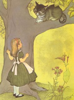 Alice and the Cat Vintage Alice in Wonderland by gracearchives
