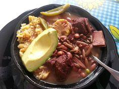 Salvadorian Bean Soup with Rice and Avocado!!!  Delicious!!!!