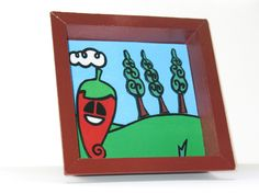 Small picture painted by hand. Pepe is a character of the world Papuzze (www.papuzze.it).    colors used: acrylics  size: 11.5 x 11.5 cm (4.53 x 4.53 inch)  materials: cardboard, glue  It's varnished with a light clear gloss to preserve the colors  Have any questions? Contact the shop owner.