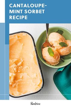 What has four ingredients and tastes like the essence of sunshine? Klancy Miller's cantaloupe-mint sorbet—from her cookbook Cooking Solo—is what. Frozen Desserts, Healthy Desserts, Easy Desserts, Healthy Recipes, Watermelon Sorbet, Cantaloupe And Melon, Fruit Recipes, My Recipes, Dessert Recipes