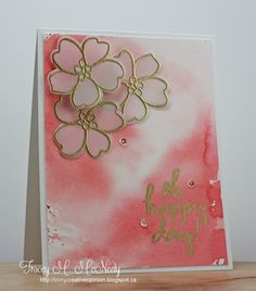 Gold embossed watercolored flowers  Essentials by Ellen Pin-Sights Challenge - January