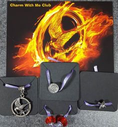 """Charm With Me Club July 2016 """"The Girl on Fire"""" charms. Includes the 4 charms shown in photo."""