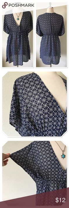 Merona Navy Blue Sheer Kaftan Cover Up This is a beautiful navy blue & white sheer cover up from Merona in size small. Kaftan style with elasticized drawstring waistline.  Only lightly worn a handful of times and only washed only in delicate cycle and hung to dry. Excellent condition: No damage or flaws: no fading, holes/tears, fraying, or missing pieces.