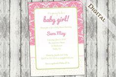 baby girl shower invitations shabby chic damask