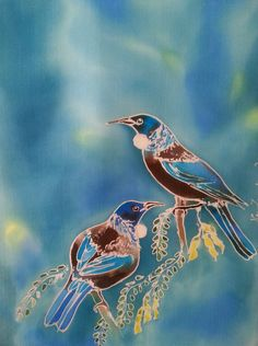 Your place to buy and sell all things handmade Bird Artwork, Bird Paintings, Tui Bird, Blue And Silver, Teal Blue, Bird Outline, Kiwiana, Colorful Birds, Outdoor Art