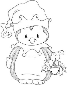 Christmas penguin with bell - Christmas Drawings 🎅 Penguin Coloring Pages, Christmas Coloring Pages, Coloring Book Pages, Coloring For Kids, Christmas Drawing, Christmas Paintings, Christmas Colors, Christmas Art, Illustration Noel